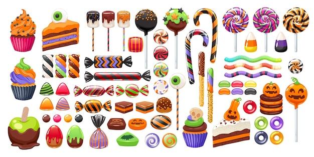 Collection De Bonbons Colorés D'halloween Vecteur Premium