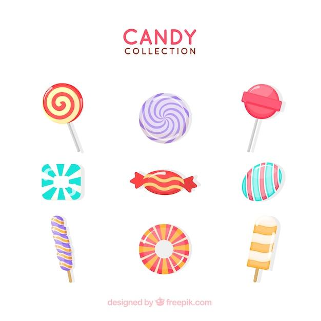 Collection de bonbons délicieux dans un style plat Vecteur gratuit