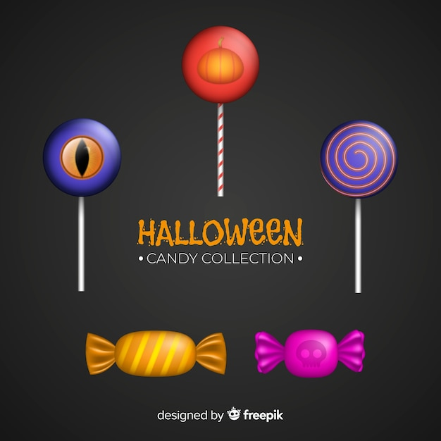 Collection de bonbons d'halloween au design réaliste Vecteur gratuit