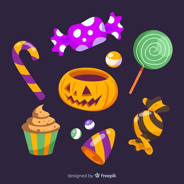 Collection de bonbons d'halloween colorés Vecteur gratuit
