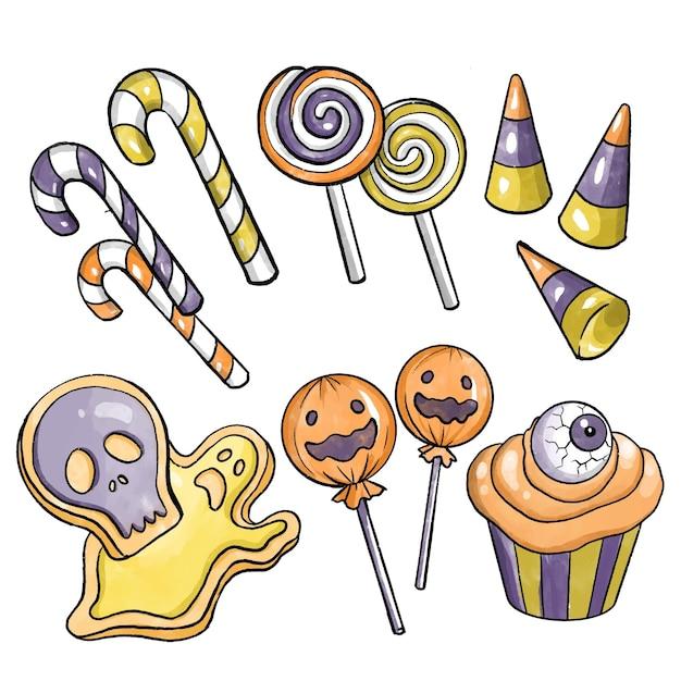 Collection De Bonbons Halloween Design Aquarelle Vecteur gratuit