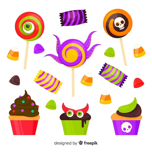 Collection de bonbons halloween design plat Vecteur gratuit