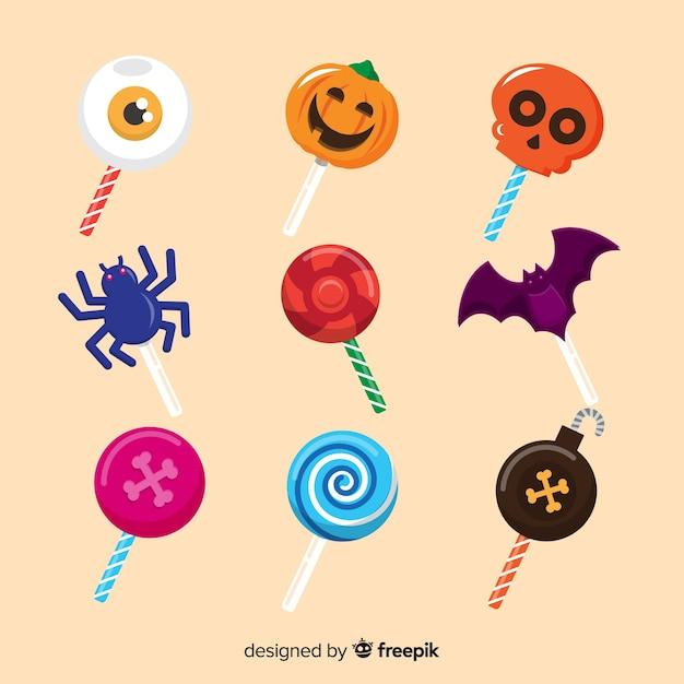 Collection de bonbons halloween design plat Vecteur gratuit