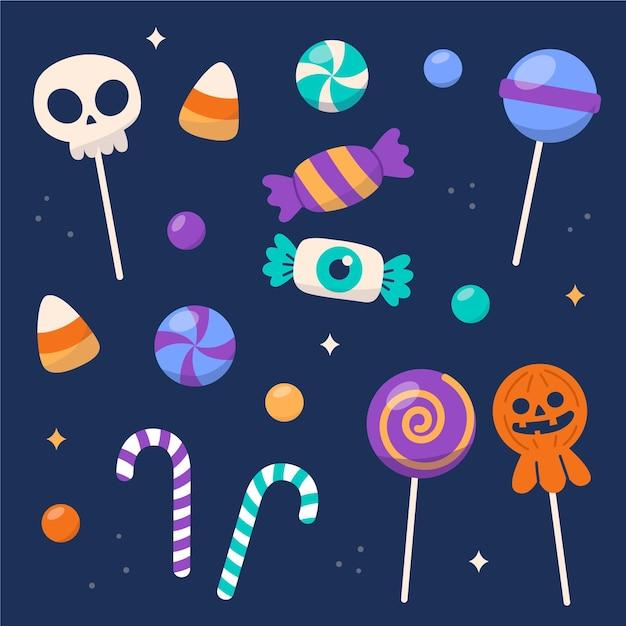 Collection De Bonbons Halloween Design Plat Vecteur Premium
