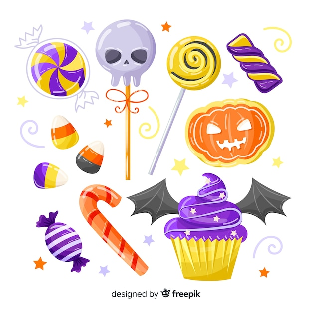 Collection de bonbons halloween dessinés à la main sur fond blanc Vecteur gratuit