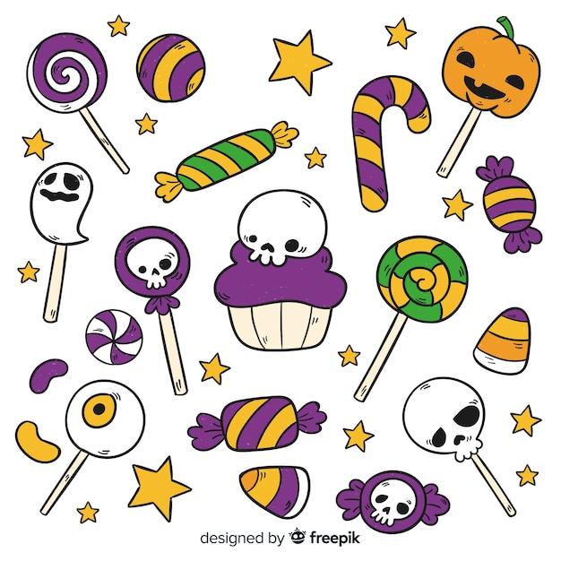 Collection de bonbons halloween dessinés à la main Vecteur gratuit