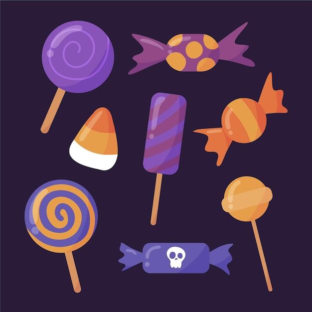 Collection De Bonbons D'halloween Dessinés à La Main Vecteur gratuit