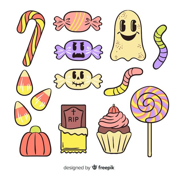 Collection de bonbons halloween mignons dessinés à la main Vecteur gratuit