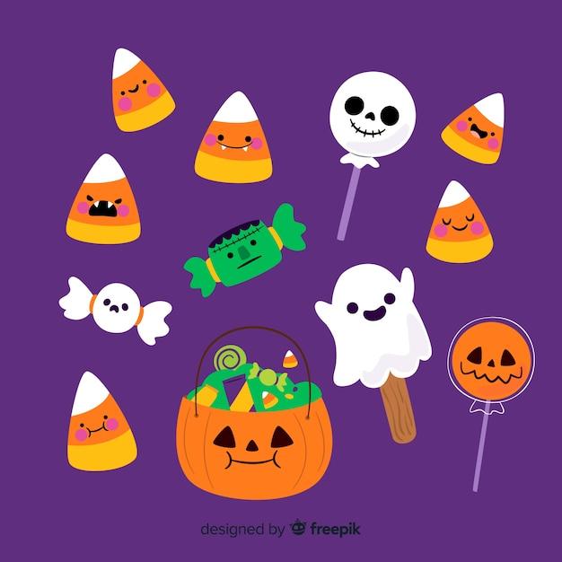 Collection de bonbons halloween plats Vecteur gratuit