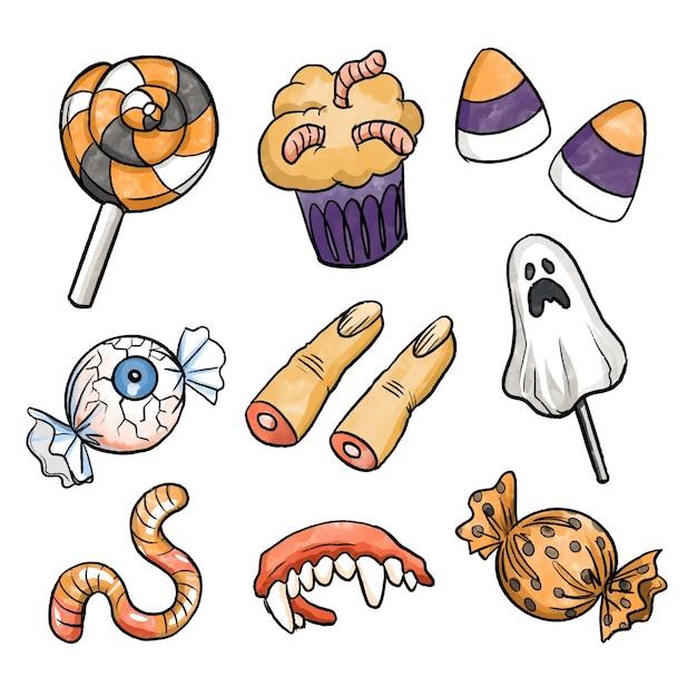 Collection De Bonbons D'halloween De Style Aquarelle Vecteur gratuit