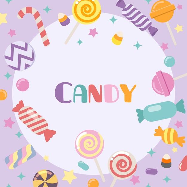 La collection de bonbons mignons sur fond violet. le fream de bonbons mignons dans un style plat. Vecteur Premium