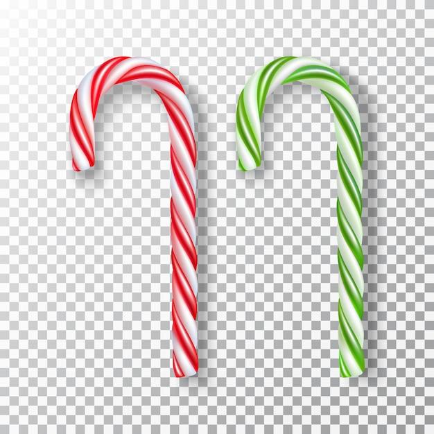 Collection de bonbons de noël réaliste à rayures rouges et blancs ou blancs et verts, isolés. Vecteur Premium