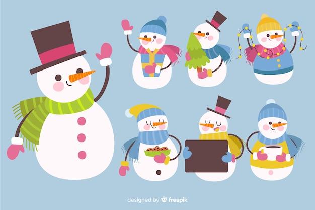 Collection de bonhomme de neige mignonne Vecteur gratuit