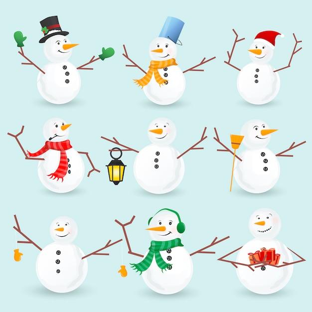 Collection de bonhommes de neige de noël hiver Vecteur Premium