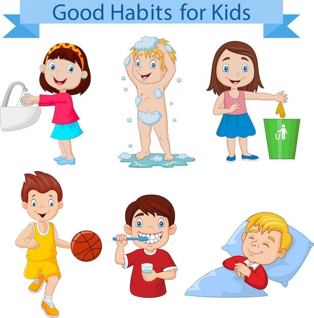 Collection de bonnes habitudes pour les enfants Vecteur Premium