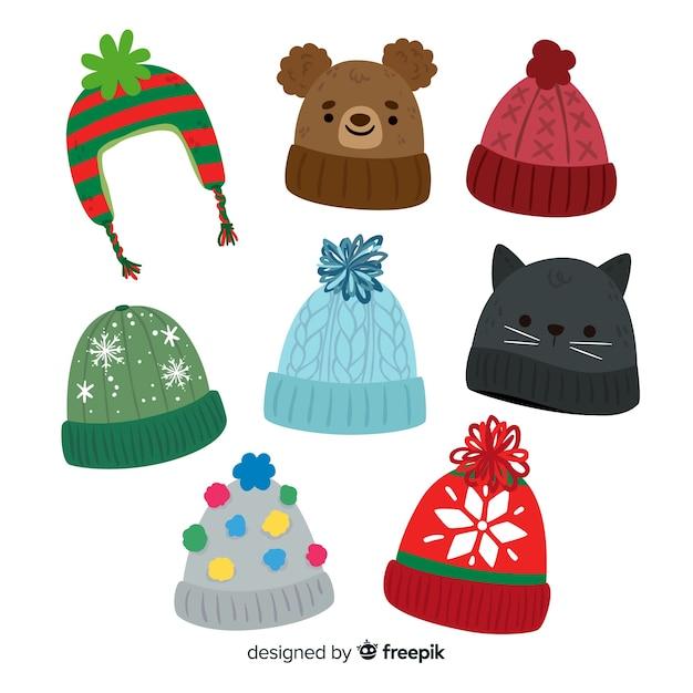 Collection de bonnet de neige Vecteur gratuit