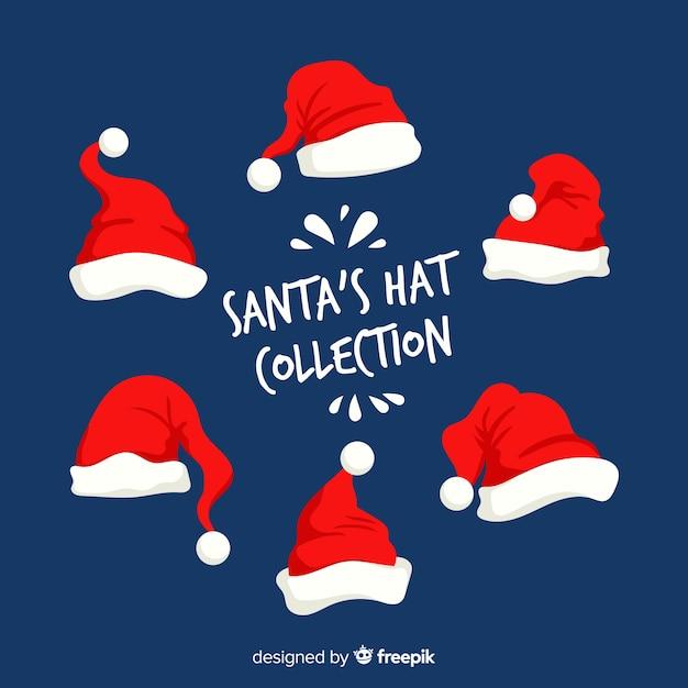 Collection de bonnets de noel design plat Vecteur gratuit