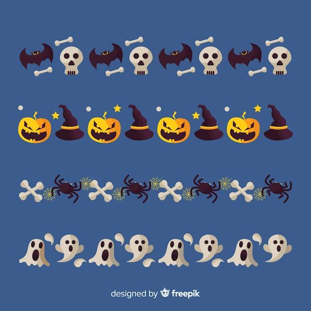 Collection De Bordure Halloween Plat Vecteur gratuit