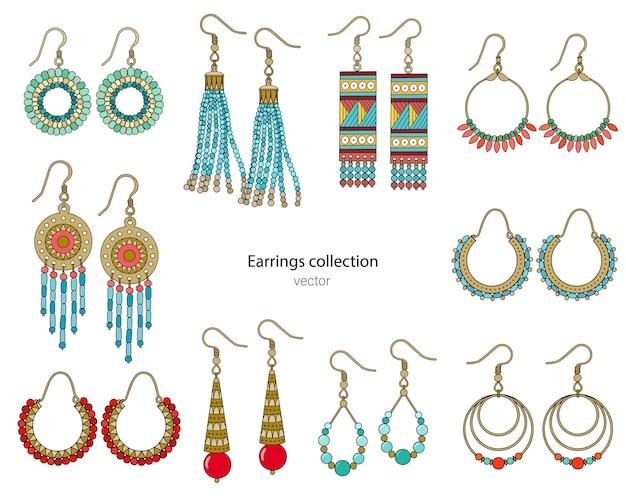 Collection De Boucles D'oreilles Faites à La Main Dans Un Style Ethnique. Illustration Couleur Isolée Sur Fond Blanc. Vecteur Premium
