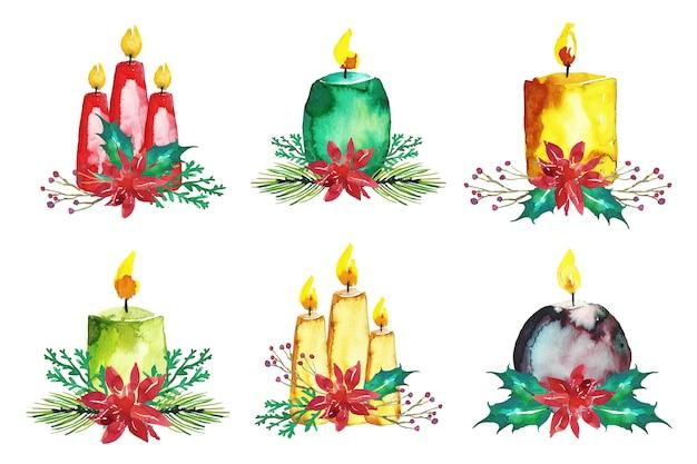 Collection De Bougies De Noël à L'aquarelle Vecteur gratuit