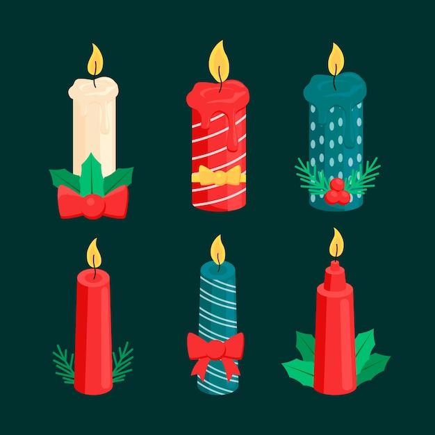 Collection De Bougies De Noël Au Design Plat Vecteur gratuit