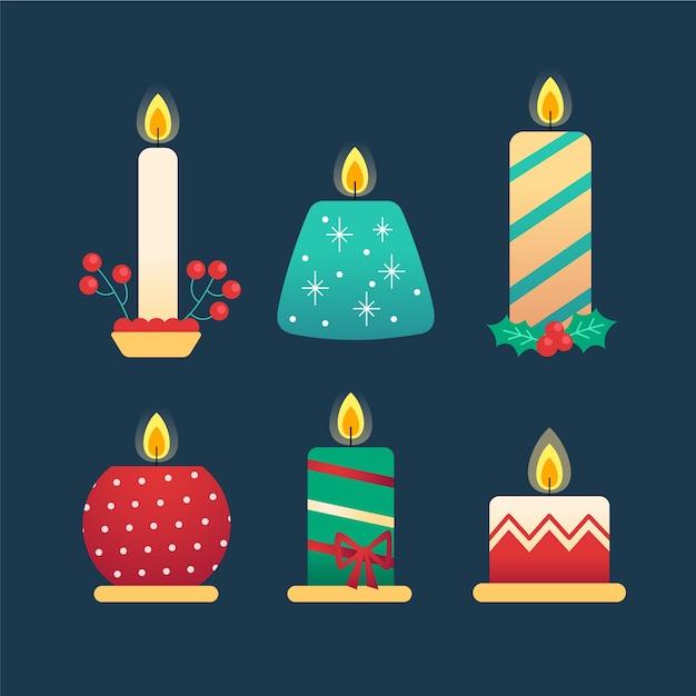 Collection De Bougies De Noël Design Plat Vecteur gratuit