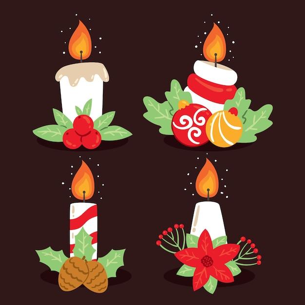 Collection de bougies de noël dessinée à la main Vecteur gratuit