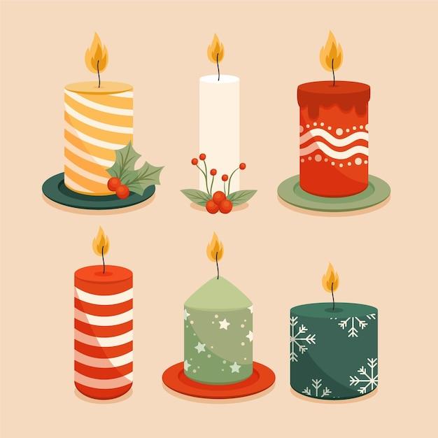 Collection De Bougies De Noël Dessinées à La Main Vecteur Premium