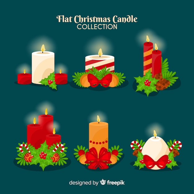 Collection de bougies de noel Vecteur gratuit