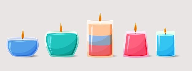 Collection De Bougies Parfumées Dessinées à La Main Vecteur gratuit