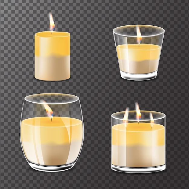 Collection De Bougies Parfumées Réalistes Vecteur Premium