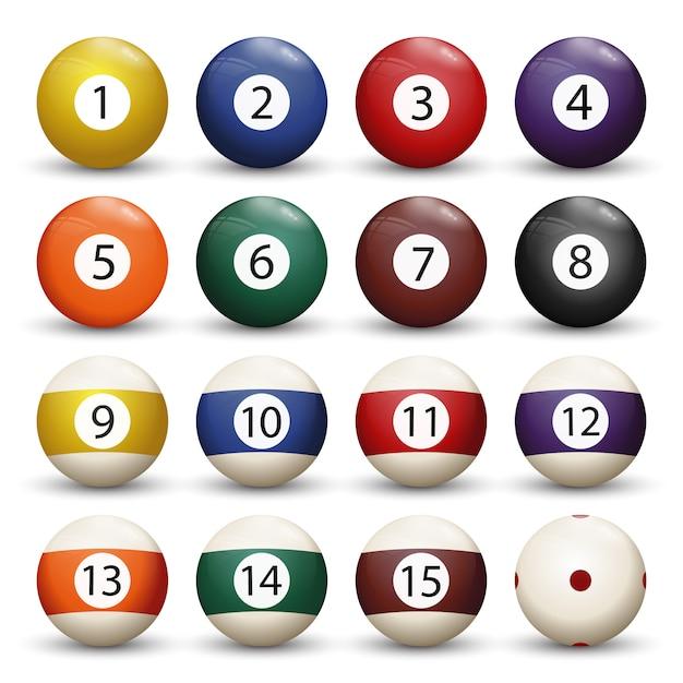 Collection de boules de billard ou de billard avec chiffres Vecteur Premium