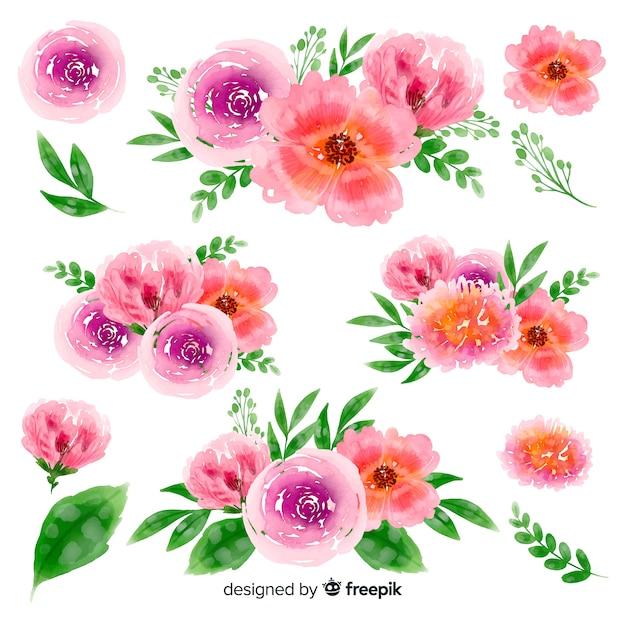 Collection de bouquet floral aquarelle coloré Vecteur gratuit