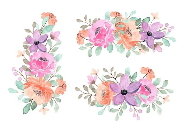 Collection De Bouquet Floral Pêche, Violet Et Rose Vecteur Premium