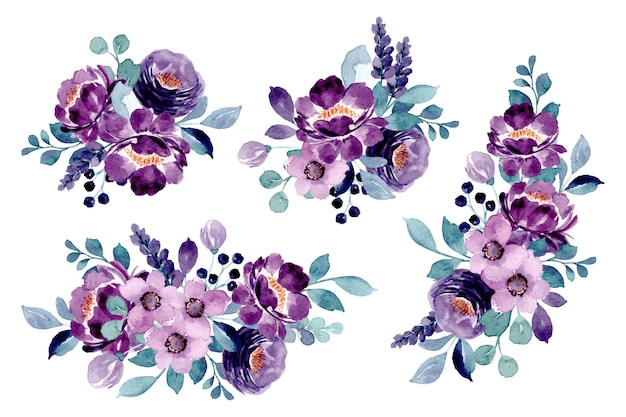 Collection De Bouquet Floral Violet Avec Aquarelle Vecteur Premium