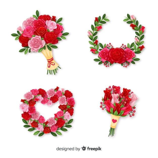 Collection de bouquet floral Vecteur gratuit