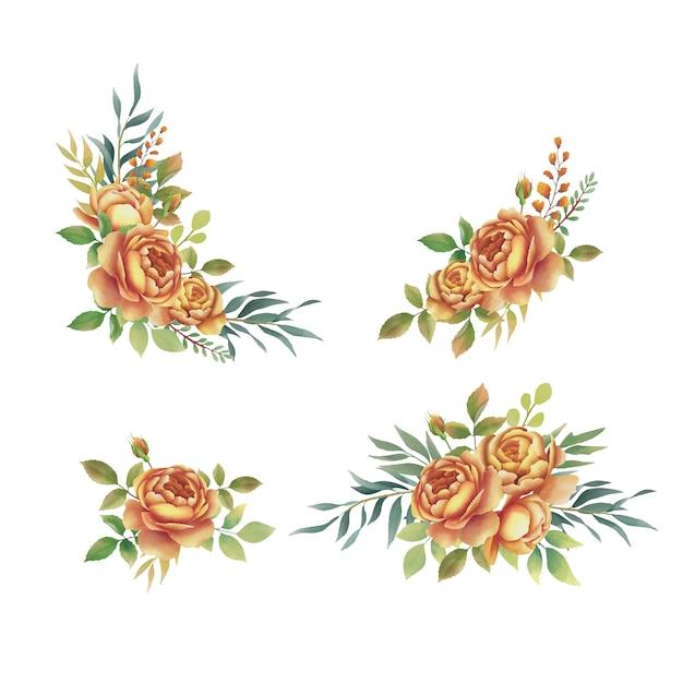 Collection De Bouquet De Roses Aquarelle Vecteur Premium