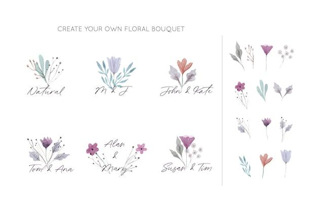 Collection de bouquets floraux élégants Vecteur gratuit