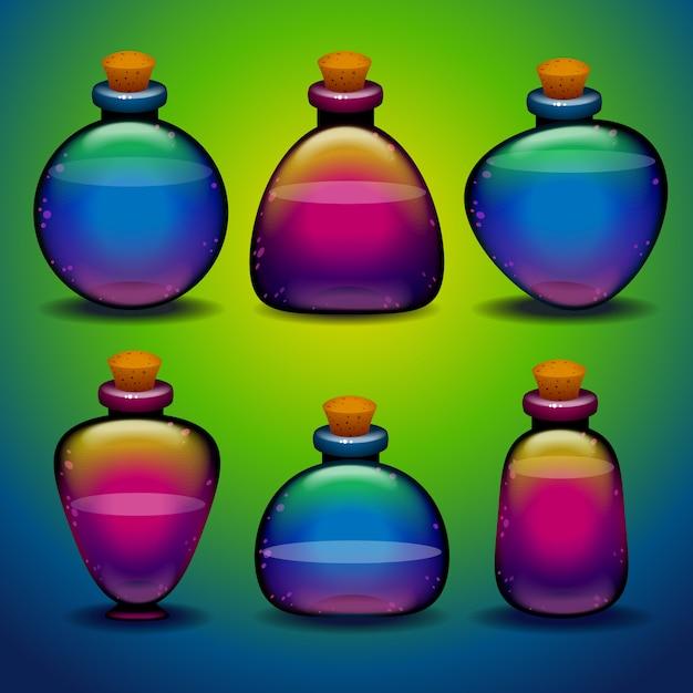 Collection de bouteilles de potion colorées de différentes formes Vecteur Premium