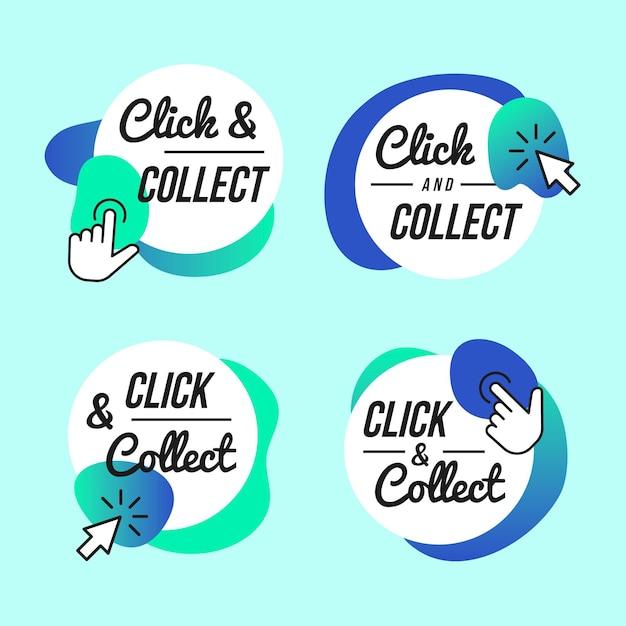 Collection De Boutons Click And Collect Vecteur gratuit