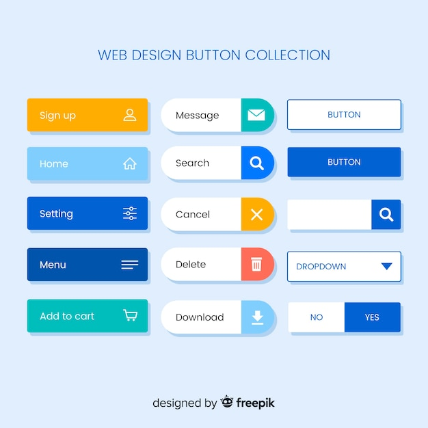 Collection de boutons de conception web coloré avec un design plat Vecteur gratuit