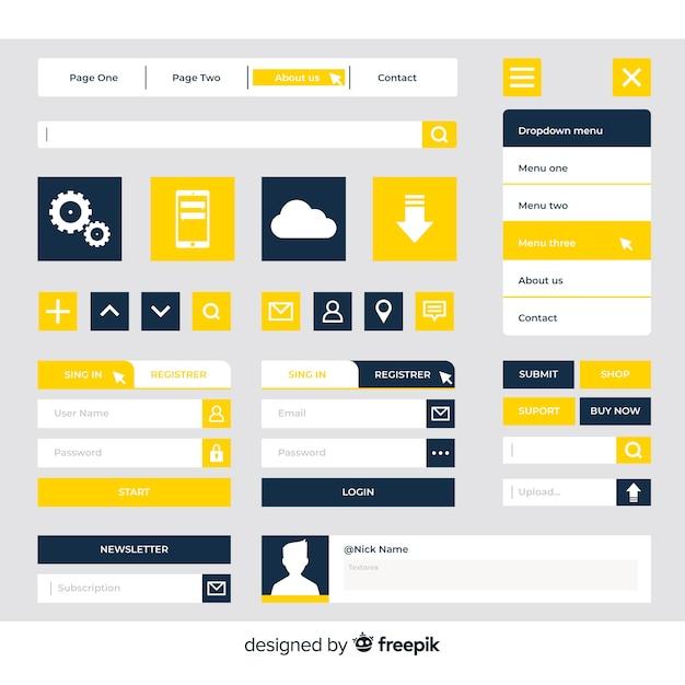 Collection de boutons de conception web moderne avec un design plat Vecteur gratuit