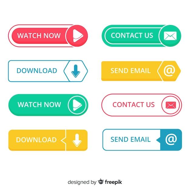 Collection de boutons web plat Vecteur gratuit