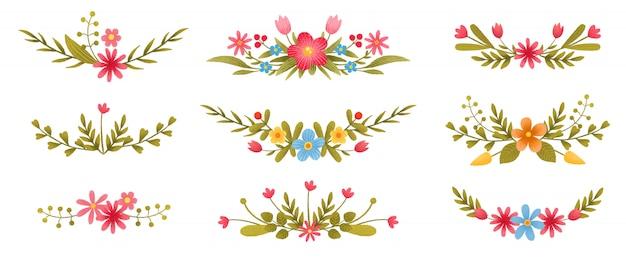 Collection De Branches Florales Colorées Avec Des Feuilles Et Des Fleurs Vecteur Premium