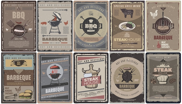 Collection De Brochures De Barbecue De Couleur Vintage Avec Grillades De Saucisses De Viande Burgers Outils Et équipement De Barbecue Isolé Vecteur gratuit