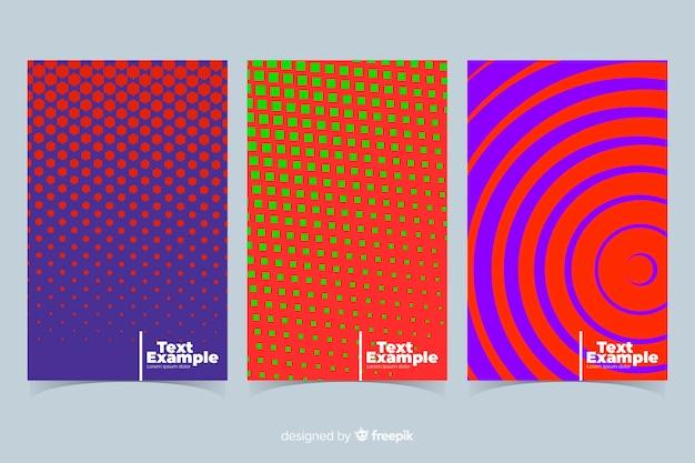 Collection de brochures de lignes géométriques colorées Vecteur gratuit