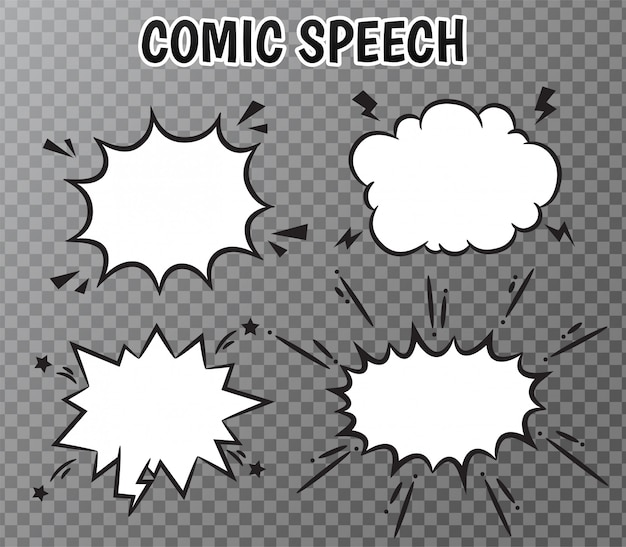Collection de bulles de bande dessinée sur transparent. Vecteur Premium
