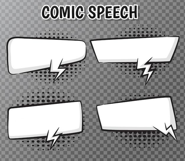Collection de bulles de bande dessinée sur transparent Vecteur Premium