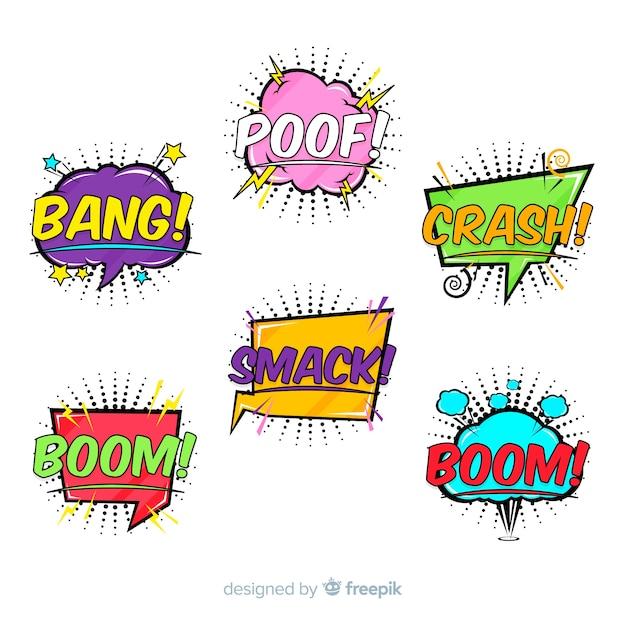 Collection de bulles de bd colorées Vecteur gratuit