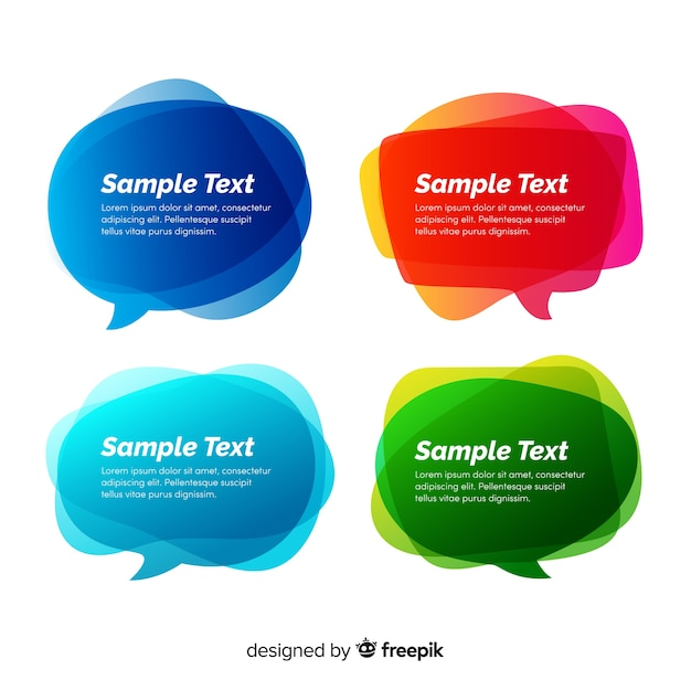 Collection de bulles de dialogue dégradé avec espace de copie Vecteur gratuit